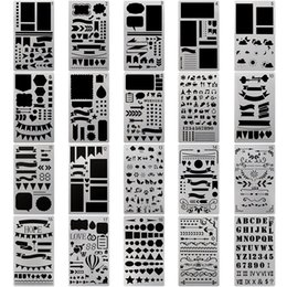 Großhandel Bullet Journal Schablone 4 x 7 Zoll Kunststoff Planer Schablonen Design für Journal / Notebook / Tagebuch / Scrapbook DIY Zeichnungsvorlage 20 Teile / Set