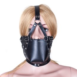 Bdsm Plug Ball Australia - Fetish Erotic Sex Toys For Women BDSM Ball Gag Mouth Plug Head Mask PVC Leather Bondage Belt Slave In Adult Games Adult Products