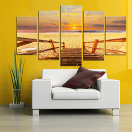Canvas Prints Frame Australia - Modern Painting Frame Art Poster HD Wall Modular 5 Panel Beach Landscape Picture Home Decoration Print On Canvas For Living Room