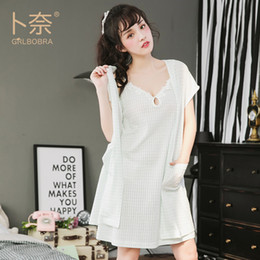 97f1f7b6b Grlbobra Summer cotton sling with two sets of pajamas Japanese ladies sweet  pocket home service pijama feminino