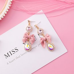 $enCountryForm.capitalKeyWord NZ - 2018 new Korean version of the pink bow pendant earrings female models rhinestone pendant earrings fashion jewelry sweet gift retail wholesa