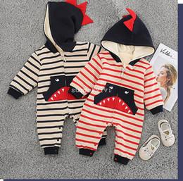 fe2841e9eee Infant kids stripe romper girls shark pattern pocket jumpsuits baby boys  cartoon hooded long sleeve thicken warmer outwear F0584