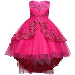 Discount images pretty little dresses for girls - Pretty Lace Blue Puffy Girls Pageant Dresses 2018 High Low Lace Appliques Communion Dresses Pageant Dresses For Little G
