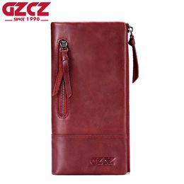 Vintage photo holder online shopping - GZCZ Genuine Leather Wallet Female Coin Purse Women Wallets Double Zipper Clamp For Money Clutch Long Walet Women Portomonee