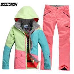 a4670407519 GSOU SNOW Brand Ski Suit Women Ski Jackets Pants Snowboard Sets Winter  Waterproof Skiing Suit Female Cheap Snowboarding Clothing