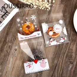 biscuit snack bags 2019 - 100Pc lot Christmas Cookie Packaging Self-Adhesive Plastic Gift Bags For Biscuits Snack Baking Party Birthday Supplies d
