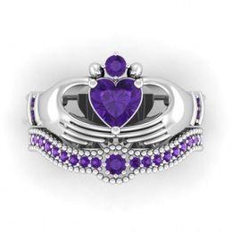 $enCountryForm.capitalKeyWord Australia - GGJewellry Selling Wholesale Heart Ring Fashion Jewelry 10KT White&Black Gold Filled Dropshopping Sapphire Claddagh Women Wedding BridalRing