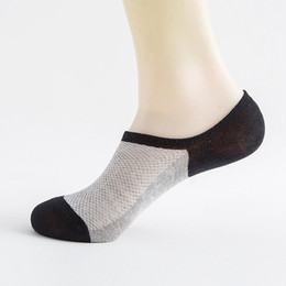 China 1 Pair Summer Mesh Breathable Short Socks for Men Stripe Non-slip Silicone Socks Men's Ankle Invisible Boat Socks cheap invisible cotton suppliers