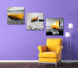 $enCountryForm.capitalKeyWord NZ - Unframed 3 Panels Nordic Landscape Panting Golden Ship River Canvas Prints Living Room Wall Art Modern Home Decoration
