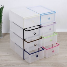 ShoeS Storage boxeS online shopping - Plastic Transparent Drawer Case Drawer Clamshell Design Shoe Storage Organizer Stackable Box Anti Dust Props New Arrival jd Z