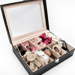 Luxury Display Cases Canada - 1PC Luxury PU leather 10 Grid Professional Wrist Watch Box Display Jewelry Storage Organizer Watch Case Caixa Para Relogio