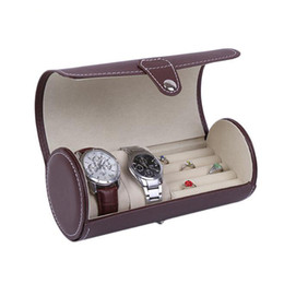 $enCountryForm.capitalKeyWord NZ - 2018 New Creative Design Both Watch Ring Display Gift Brown Box Case Wristwatch Couple Bracelet Jewelry PU Leather Box Storage Travel Pouch