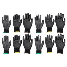 Nylon Coating NZ - 6 Pairs Nylon PU Safety Coating Work Gloves Builders Grip Palm Protect S M L