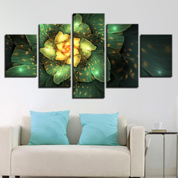 $enCountryForm.capitalKeyWord Australia - Canvas Paintings 5 Pieces Fantasy Golden Flowers Pictures HD Print Abstract Green Leaves Poster Wall Art Frame Living Room Decor