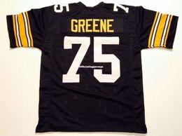 0892d6db78b Cheap Retro custom Sewn Stitched #75 Joe Greene Black MITCHELL & NESS  Jersey Men's Football Jerseys Rugby