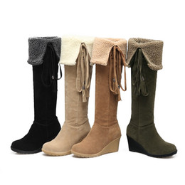 Discount army green thigh high boots - Legzen New Stylish Thign High Long Boots Faux Suede Wedges Winter Boots Shoes Woman Plus Size 4-12
