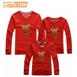 mother daughter shirts 2019 - Christmas Family Look Family Clothes Long Sleeve T Shirts Fashion Father and Son Suits Milu Deer Style Mother Daughter M