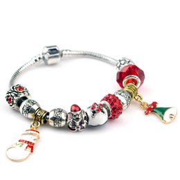 $enCountryForm.capitalKeyWord NZ - New Santa Claus Charm Bracelet For Women DIY Crystal Beads Bracelets & Bangles Jewelry for Christmas Gift Wholesale