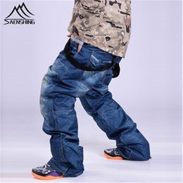 waterproof jeans NZ - SAENSHING Winter Ski Pants Jean Men Waterproof Windproof Warm Bib Snowboard Pants Male Breathable Skiing Snowboarding Trousers