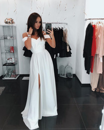 off white baby dress Australia - Ivory Baby Blue Off Shoulder Evening Dresses High Side Split Cheap Simple Evening Gowns African Vestidos Cheap Party Prom Dresses
