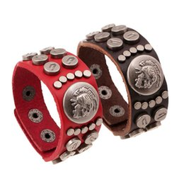 rivet button snaps NZ - New Fashion Skeleton Round Button Rivet Lover Leather Bracelet Red & Black Punk Couple Wristband Snap Fastener Jewelry Gifts for Lovers