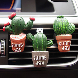 Perfume Wholesale Outlet NZ - New Arrival Cactus Shaped Car Outlet Perfume Clip Car Air Conditioning Outlet Ornaments Auto Interior Decoration car-styling