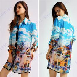 clouds jacket 2019 - Blue Sky Clouds Grecism Building Print Women Long Sunscreen Jacket Tops Anti-UV Button Blouse Beach Shirt Ladies Running