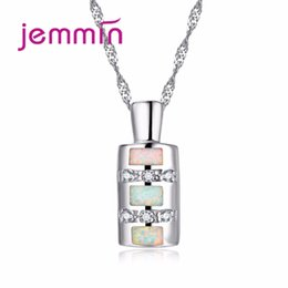 50a8b5510 Jemmin Unique Bottle Design White Opal Pendant Women Necklace 925 Sterling  Silver Chain Crystal Necklaces for Women Jewelry Gift