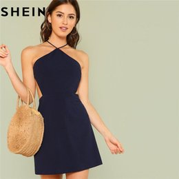 SHEIN Women Navy Sleeveless Backless Sexy Club Mini Dress 2018 Summer Party  Strappy Back Zipper Solid Shift Halter Short Dresses e4cbde4b5501