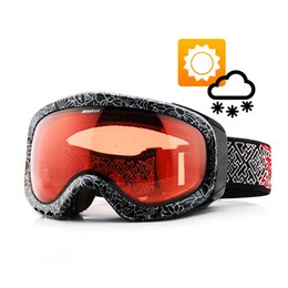Discount photochromic ski goggles - Transition Lens Photochromic Ski Snowboard Snow Goggles Anti-fog UV Protection All Weather Night Vision Sunny Day Men Wo