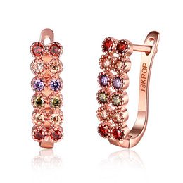 rose gold clip earrings NZ - Beautiful Design 18K Rose Gold Plated Clip Earrings with Zircon Women Fashion Party Jewelry Low Price Factory Wholesale Free Shipping