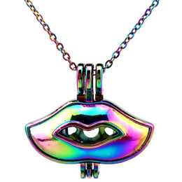 Rainbow Lips NZ - C592 Rainbow Color 43mm Alloy Sex Lips Beads Cage Pendant Essential Oil Diffuser Aromatherapy Pearl Cage Locket Pendant Necklace