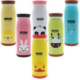 thermos thermal bottle 2019 - 2pc Stainless Steel Cute Cartoon Animal Duck Deer Elephant Rabbit Panda Lion Thermos Travel Mug Vacuum Cup Bottle 500ml