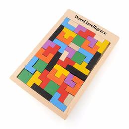 Vente en gros Coloré En Bois Jouets Tangram Casse-tête Puzzle Jouets Tetris Jeu Préscolaire Magination Intellectuelle Jouets Éducatifs Enfant Cadeau