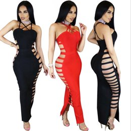 Sexy Red Bandage Dresses Canada - Nightclub Dress European American Sexy Bandage Halter Neck Dress Sexy Black Red Lace Up Choker Ankle Length Club Party Dress