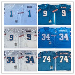 Men Jersey  1 Warren Moon Houston  34 Earl Campbell 74 Bruce Matthews  9  Steve McNair White Blue football Jerseys 70c6ad568