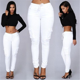 $enCountryForm.capitalKeyWord NZ - Women Fashion Style Pants Ladies Green Red Sexy Party Club Pockets Pants Trousers New Arrivals Slim White Stretch Drawstring Trousers