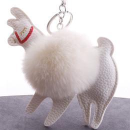 Fluffy Pompom Alpaca Leather Keychains For Car Plush Rabbit Fur Keyring  Keyholder Womens Bag Charm Pendant Trinket Accessories 2e892b1097