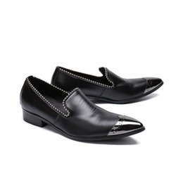 men evening black shoe UK - New men's pointed toe slip on genuine leather shoes men loafers formal suit wedding shoes evening party dress shoes big yards 46
