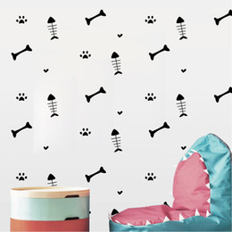 $enCountryForm.capitalKeyWord NZ - Creative Funny Cartoon Fish bone Wall Stickers Cat Dog Paws Vinyl Decals Furniture Cabinets Kids Room DIY Home Decoration