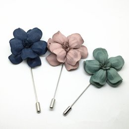 brooch flower needle UK - 10pcs about 75mm Brooch Flower Lapel Pin Three Colors Available