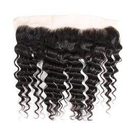Queen Brazilian Deep Wave Hair UK - Queen Ear To Ear Loose Deep Wave Frontal Closure Peruvian Hair Top Swiss Lace Frontal Closure With Baby Hair Deep Curly perruque cheve