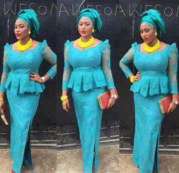 Discount dresses fashion nigerian - Elegant Blue Evening Formal Dresses Gowns For Black Women Plus size African Nigerian Lace dress Slits Long Sleeves Cheap