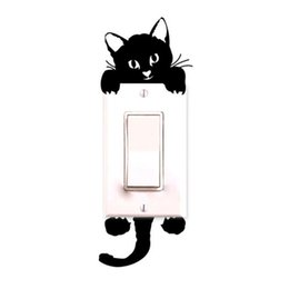 Novo Qualificado 2017 Novo quente Viny Cat Wall Stickers Light Switch Art Baby Nursery quarto decoração Levert Dropship dig6314 on Sale