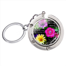 silver plants NZ - BH-003 New Fashion Vintage Art and Flowers Quotes Glass Round Cabochon Photos Bag Hanger Keychain Hand Craft Silver Metal Keyrings