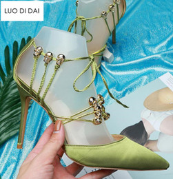 $enCountryForm.capitalKeyWord NZ - 2018 New women green high heels thin heel gold skull tied pumps party shoes satin pumps dress shoes lace up pumps wedding shoes