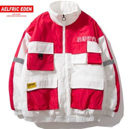 Discount reflective motorcycle jackets - AELFRIC Men Color Block Winter Warm Ma-1 Bomber Jackets 2018 Hip Hop Motorcycle Streetwear 3M Reflective Thick Windbreak