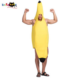 Discount fruit fancy dress - Men Yellow Banana Fruit Costume Carnival Party Adult Male Outfits Fancy Dress Unisex Jumpsuits Rompers Halloween Costume