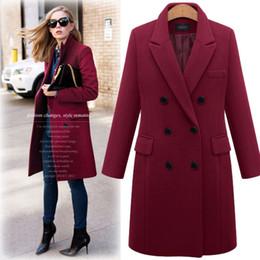 $enCountryForm.capitalKeyWord UK - Slim wool coat Jacket solid color V collar bouble breated middle long deep rose black grey light tan wool outwear winter women