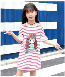 $enCountryForm.capitalKeyWord Canada - Children clothing Summer stripe cotton short sleeve T-shirts Round neck with character and letter soft clothes for baby grils